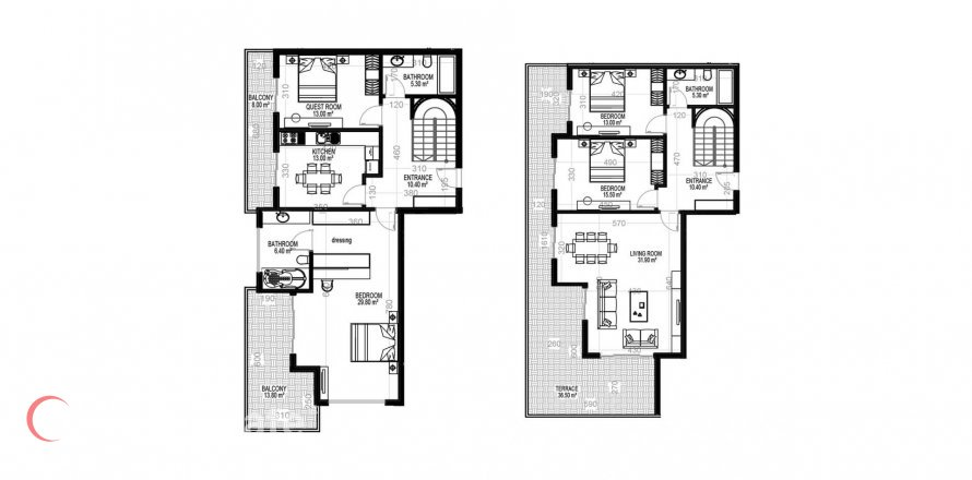 4+1 Penthouse in Mahmutlar, Turkey No. 1553