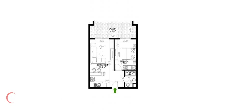 1+1 Apartment in Mahmutlar, Turkey No. 1350