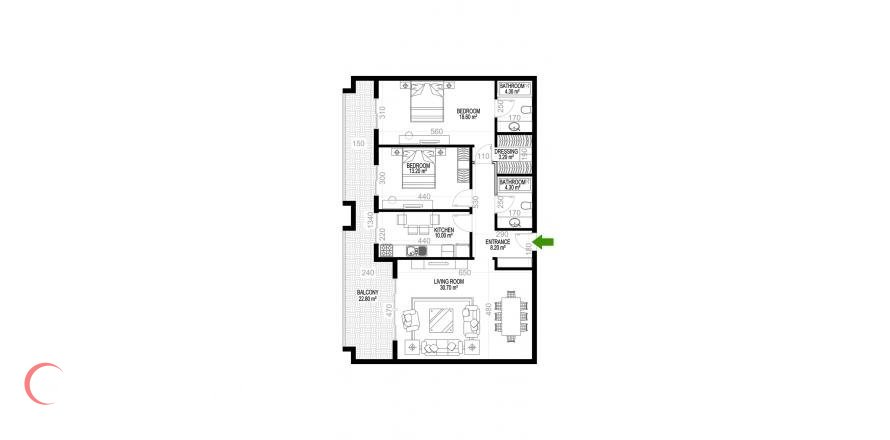 2+1 Apartment in Mahmutlar, Turkey No. 1269