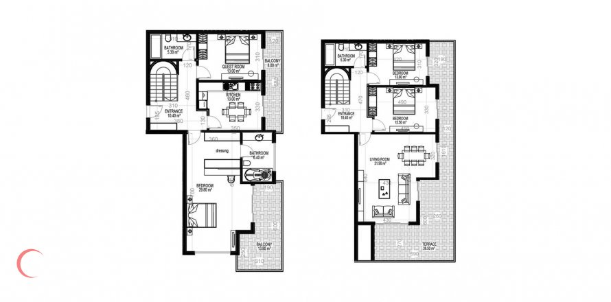 4+1 Penthouse in Mahmutlar, Turkey No. 1544