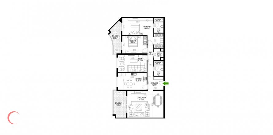 3+1 Apartment in Mahmutlar, Turkey No. 1473