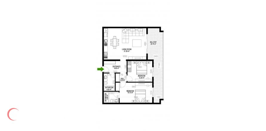 2+1 Apartment in Mahmutlar, Turkey No. 1427