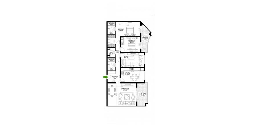 3+1 Apartment in Mahmutlar, Turkey No. 1503