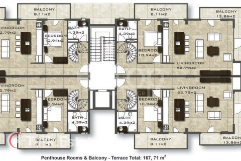 Продажа квартиры в Аланье, Анталья, Турция 2 комн., 90м2, №1117 – фото 37