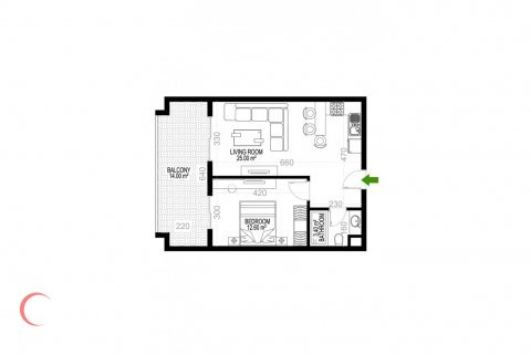 Квартира 1+1 в Махмутларе, Турция №1353 - 1