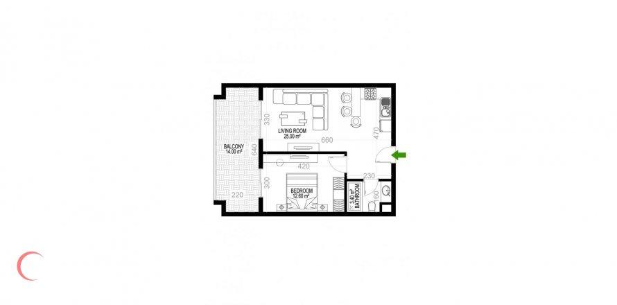 Квартира 1+1 в Махмутларе, Турция №1353