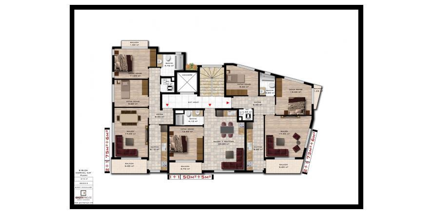 Продажа квартиры в Аланье, Анталья, Турция 1+1, 55м2, №27916 – фото 1